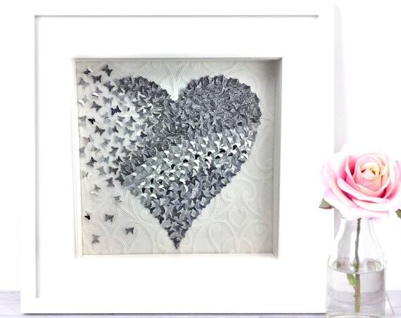 Silver paper butterfly heart, 3D heart wall art , butterflies heart , silver butterflies Heart frame Decor, Moncraftwallart