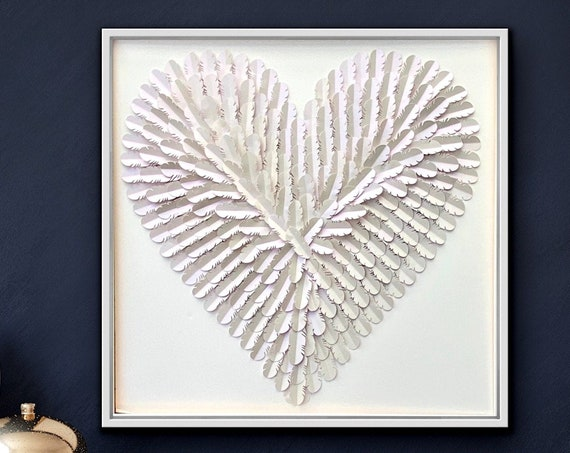 30 Inch white on white feathered heart, Modern Wall Decor