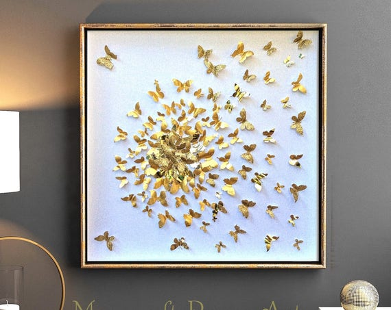 butterfly wall art, gold paper butterfly art ,  Butterflies decor, modern butterfly Decor , gold paper butterfly art, girl room wall decor