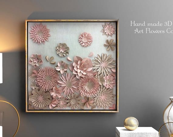 Paper flower , Modern Wall Art decor , living room wall art , Home decor , floral nursery wall art , paper art decor , pink beige wall art