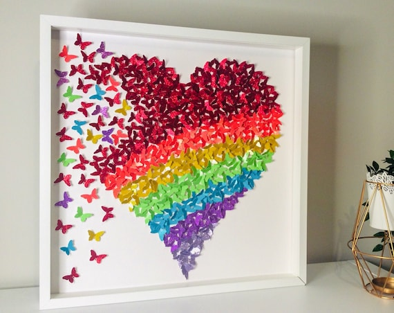 Butterfly wall art: rainbow butterfly heart art, 3D Wall Butterflies, 3d Wall art, paper butterfly , Butterfly Wall Art Nursery, Girl's Room