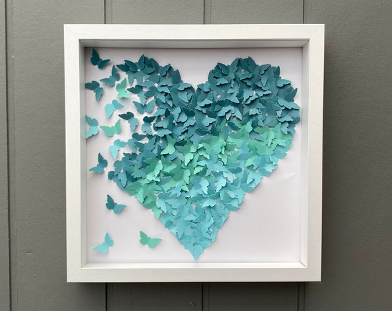 Ombre shades of Teal paper butterflies heart - Contemprory Room Deocr