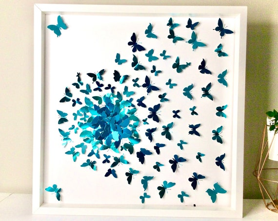 Teal butterfly wall art, paper butterfly art ,  modern butterfly Decor , Teal paper butterfly art, girl room wall decor
