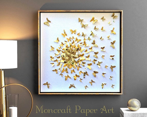 Gold Butterflies Splash Design Collage - Wall Art Decor