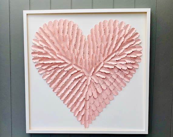 Large 30 Inch Pink paper feather Heart, Pink Heart Wall Art Hand Made
