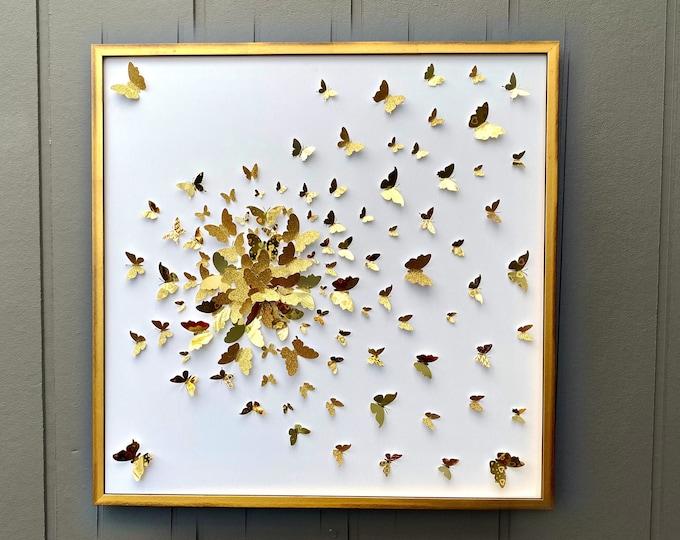 Featured listing image: Gold Butterflies Splash Design Collage - Wall Art Decor
