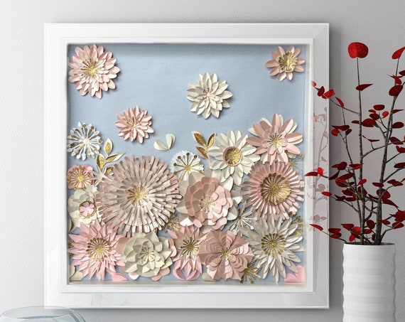 Paper flower Wall Art  , 3D Floral wall Art, nursery wall decor , modern Home decor , floral nursery wall art , paper art decor , pink bei