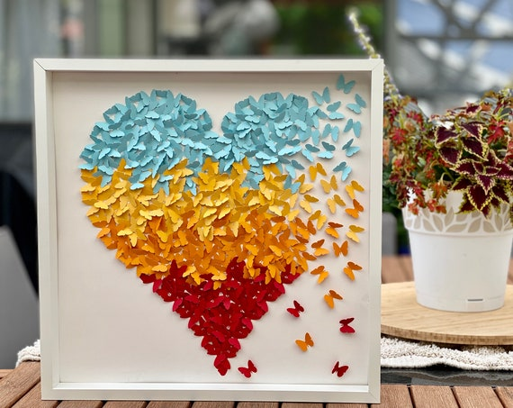 Pastel Blue , Yellow ,orange and Red Butterflies Heart Wall Art