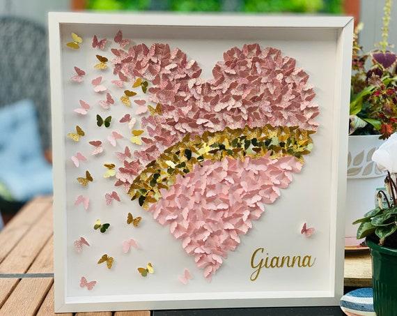 Pink Heart in Glitter , Pink and Gold - 3D Paper butterflies heart