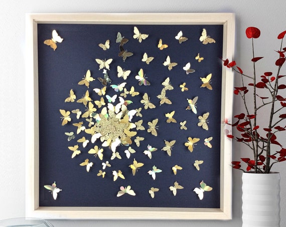 Modern wall Art , Abstract butterfly , butterfly wall art, gold Butterflies, handmade butterfly art , butterfly canvas, paper butterfly art