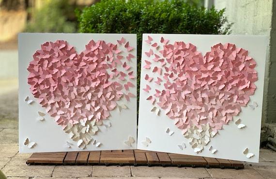 2 Wall Art Set - Ombre shades of pastel pink- Nursery Decor Wall Art