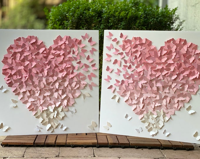 Featured listing image: 2 Wall Art Set - Ombre shades of pastel pink- Nursery Decor Wall Art