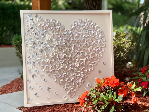 White on white with hint of blue Butterflies Heart