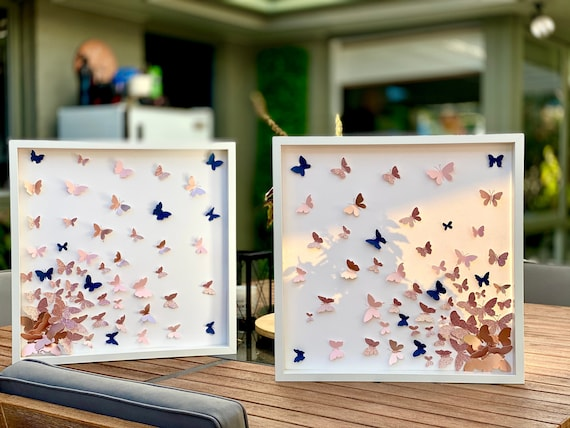Set of 2 Butterflies Splash in shades of pinks , Gold & Navy - Wall Art Decor