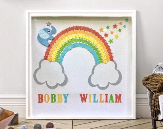 Personalised name Nursery wall decor , kids room framed decor, rainbow stars & elephant boys room wall art , nursery artwork boys,