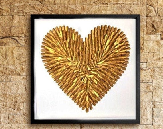 Large Gold paper feather Heart, Gold Heart Wall Art, 30 inch feather wall art, feather decor,    handmade folded paper heart wall
