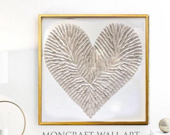 30 inch Nursery feathered heart, Beige silver feather Heart | handmade folded