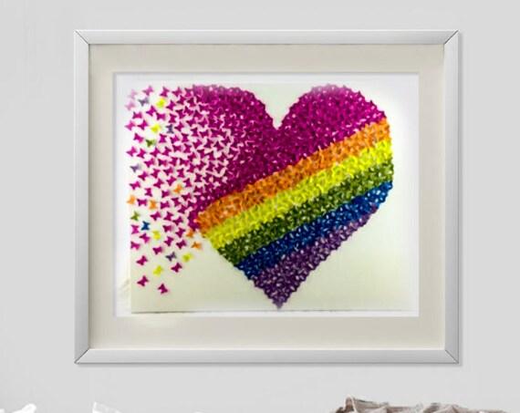3D butterfly heart    rainbow heart butterfly heart wall art   paper butterflies wall art girls room personalise kids gift ideas  wedding