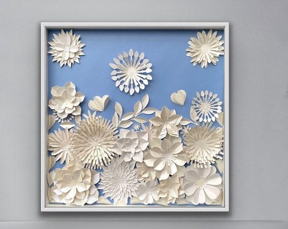 Blue white Paper flower , Modern Wall Art decor , living room wall art , Home decor , floral nursery art , paper art decor ,white floral