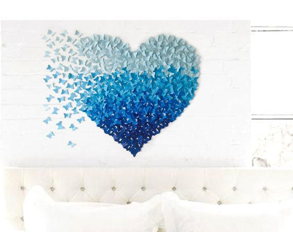 Paper Butterfly  Heart Blue Ombre hand made  wall art hanging home decor women girls gift   nursery decor baby room holiday gift