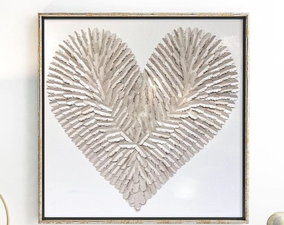 30 inch  Nursery feathered heart, Beige silver  feather Heart | handmade folded paper heart wall art| 3D paper art |nursery  Heart