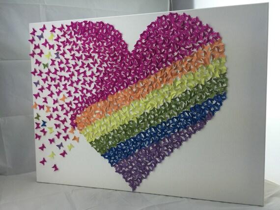 3d Butterfly Heart Rainbow Heart Butterfly Heart Wall Art Etsy
