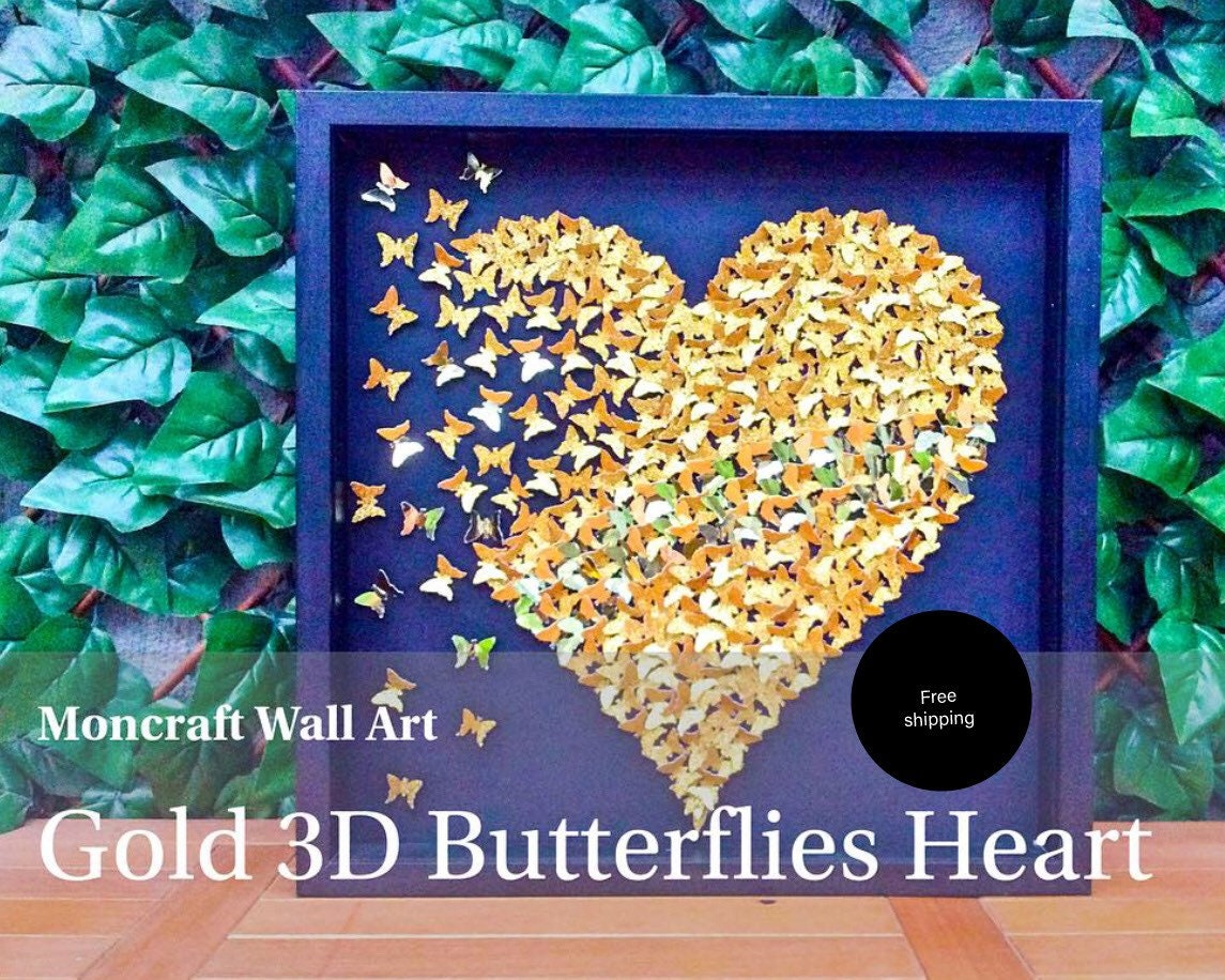 Paper Butterflies 3D Butterfly heart butterflies Gold   Etsy