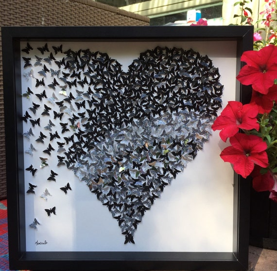 Black and Silver Paper Butterflies Wall Art - Contemporary Home Decor