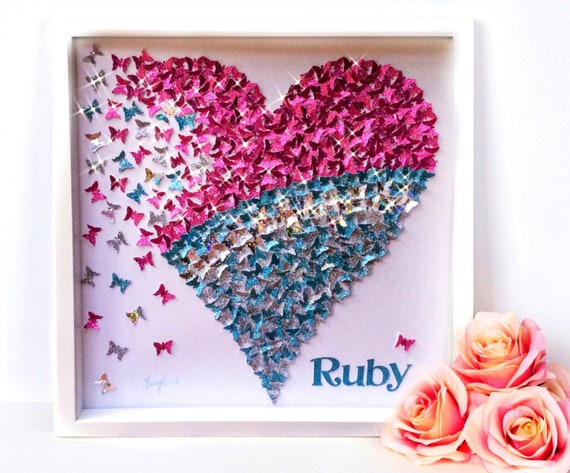 3D Wall Butterflies: 3d butterfly wall art, paper butterflies, Blue Paper butterflies  ,Pink Butterflies, Turquoise  Heart  