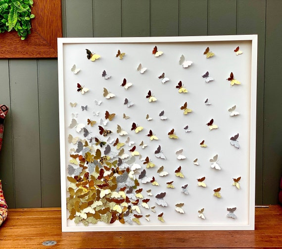 Home Decor 3D Gold Art - paper butterfly Art 3D Wall Art .