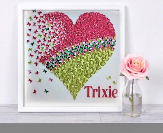 Glitter Pink and Green Butterflies Heart - As seen on TV - Modern Room Kids Decor