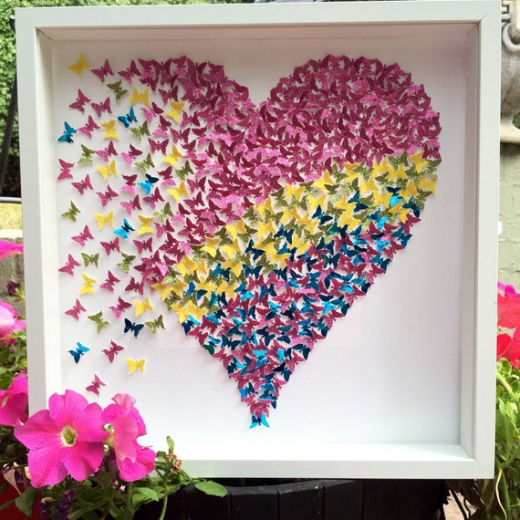 Collage of Pink , yellow , green and Blue of paper Butterflies Heart. Modern Decor Girls room