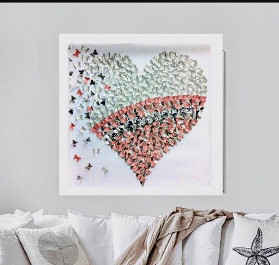 Heart Decor   3D butterflies wall art  3D paper art   Pink butterflies Heart Frame Decor  Hand made  Custom Made  Room Decor   Anniversary  