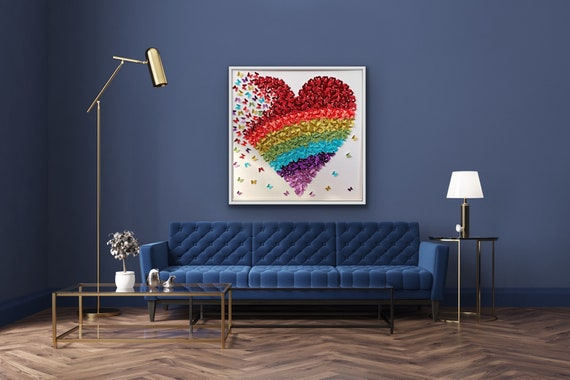 Modern contemporary  asexual pride Rainbow Paper Butterflies Heart