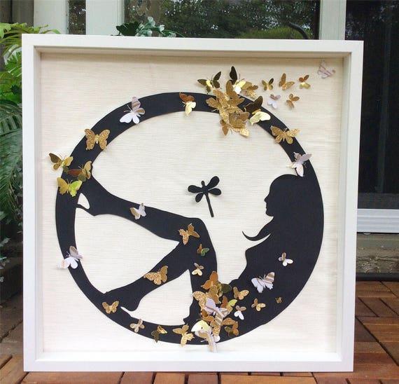 Black Gold Wall art ,Silhouette design ,  Gold  butterflies Wall Art , Woman Panel Art, Paper butterflies Wall Art , Monacraft WallArt