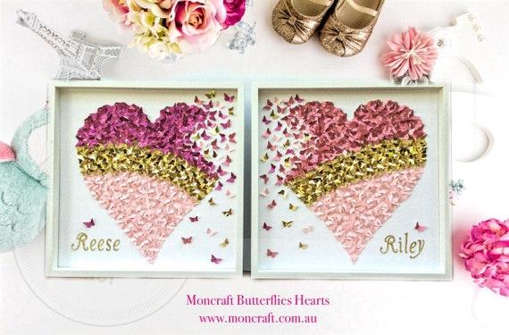 Wall Art Set of 2 ,20x20 inch - 3D Framed Wall Art , paper butterfly , 3d butterfly wall art, butterfly art , kids wall art set
