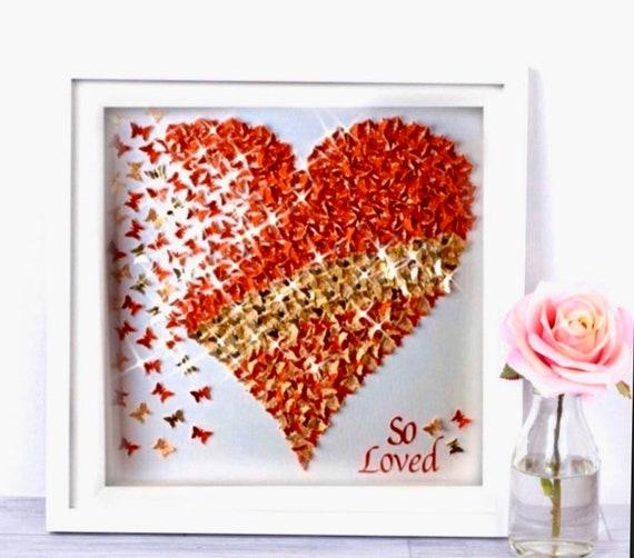 3D Glitter Red and Gold Wedding Butterflies Heart
