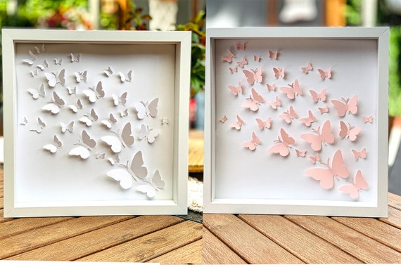 Wall Art Set of 2 small frames Nursery decor - white and Pastel Pink