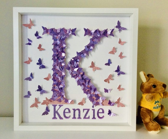 Butterflies Letters, personalised name Alphabet nursery letter wall art