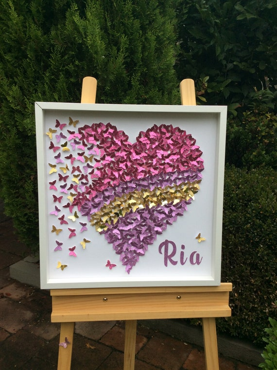 Custom Request for personalised 30 inch paper butterflies Heart