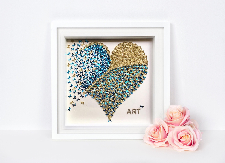 3D Schmetterlinge Herzen 3D Schmetterling Wand Papier | Etsy