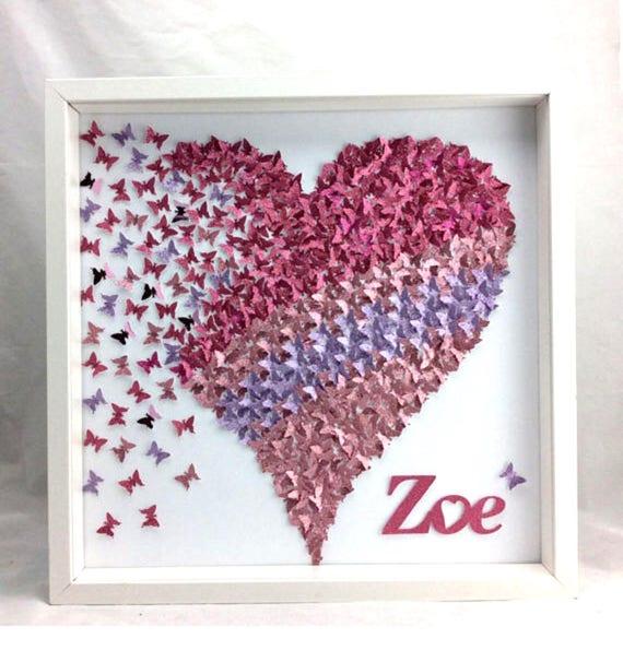Pink & light Purple paper Butterflies Heart ,3D Wall Art , girl room wall art decor, paper Artwork, Framed Art