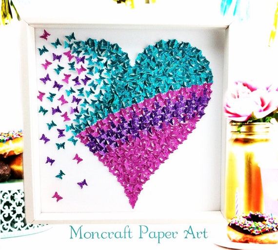 3D Butterflies Wall Art , Paper butterfly heart art, 3D Wall Butterflies, 3d Wall art, paper butterfly , Butterfly Wall Nursery, Girl's Room