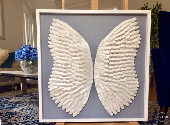 Angel wings Nursery wall Art  , white angel paper nursery decor, personalised wall art decor, nursery wall hanging , angel wings wall art
