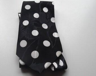 Vintage black necktie with white balls of 100% Poly Columbus shiny