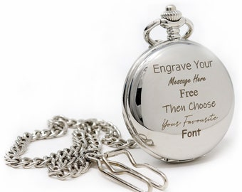 Engraved/Personalised Silver Pocket Watch In Silk Gift Box For Birthday/Wedding/Christmas/Father's Day/Christening