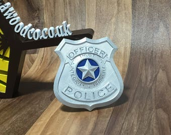 Pretend Police officer badge - Trust | Integrity | Bravery - 3D Printed 90x85