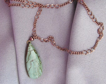 Green and Brown Jasper Necklace, Gift for Her