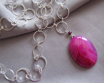 Raspberry Purple Agate Pendant Necklace/Gift for Her