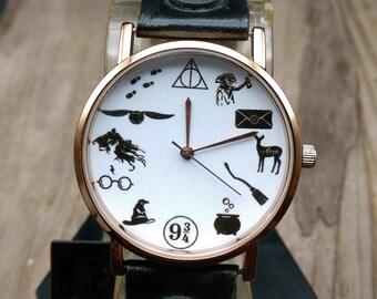 Harry Potter Watch Leather Ladies Women Unisex Gift Wristwatch Hogwarts Genuine Watches Vintage